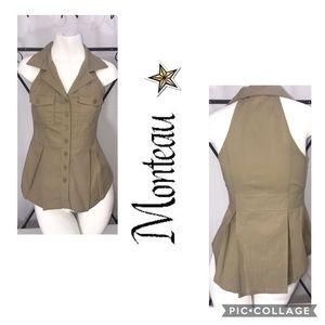 Monteau Safari Style Button Up Sleeveless Blouse